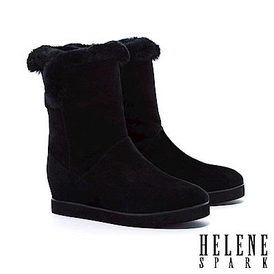 中筒靴 HELENE SPARK 反摺兔毛造型羊麂皮內增高中筒靴-黑