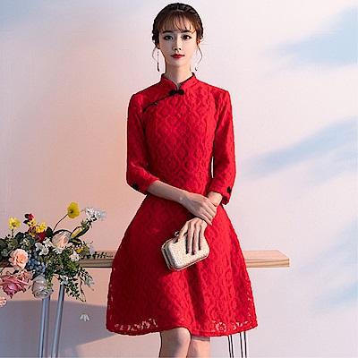 DABI 復古旗袍日常改良版喜氣長袖洋裝