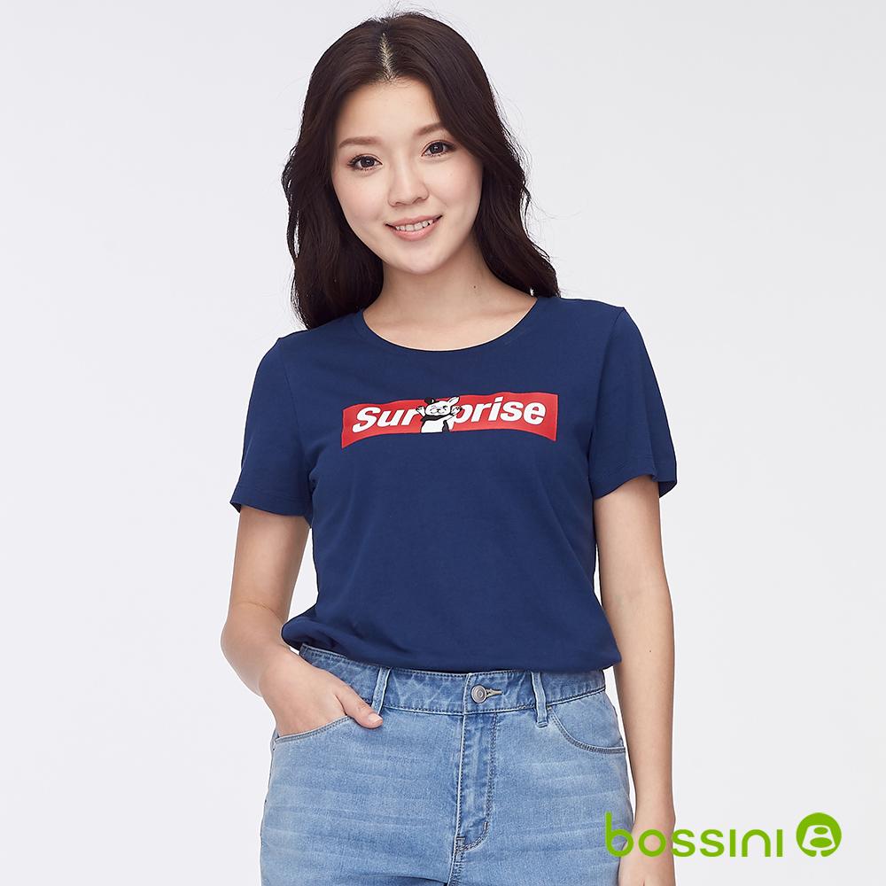bossini女裝-印花短袖T恤29海軍藍