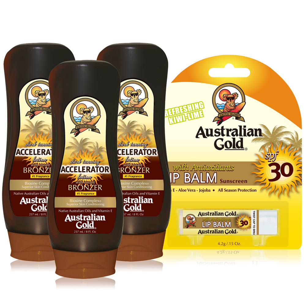 Australian Gold金色澳洲 急速黝黑助曬乳液X3贈防曬護唇膏SPF30