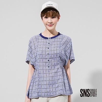 SNS 春日野餐清爽配色格紋寬袖上衣(1色)