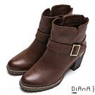 DIANA 率性風貌–仿繞帶金屬釦飾後拉鍊高跟短靴-棕