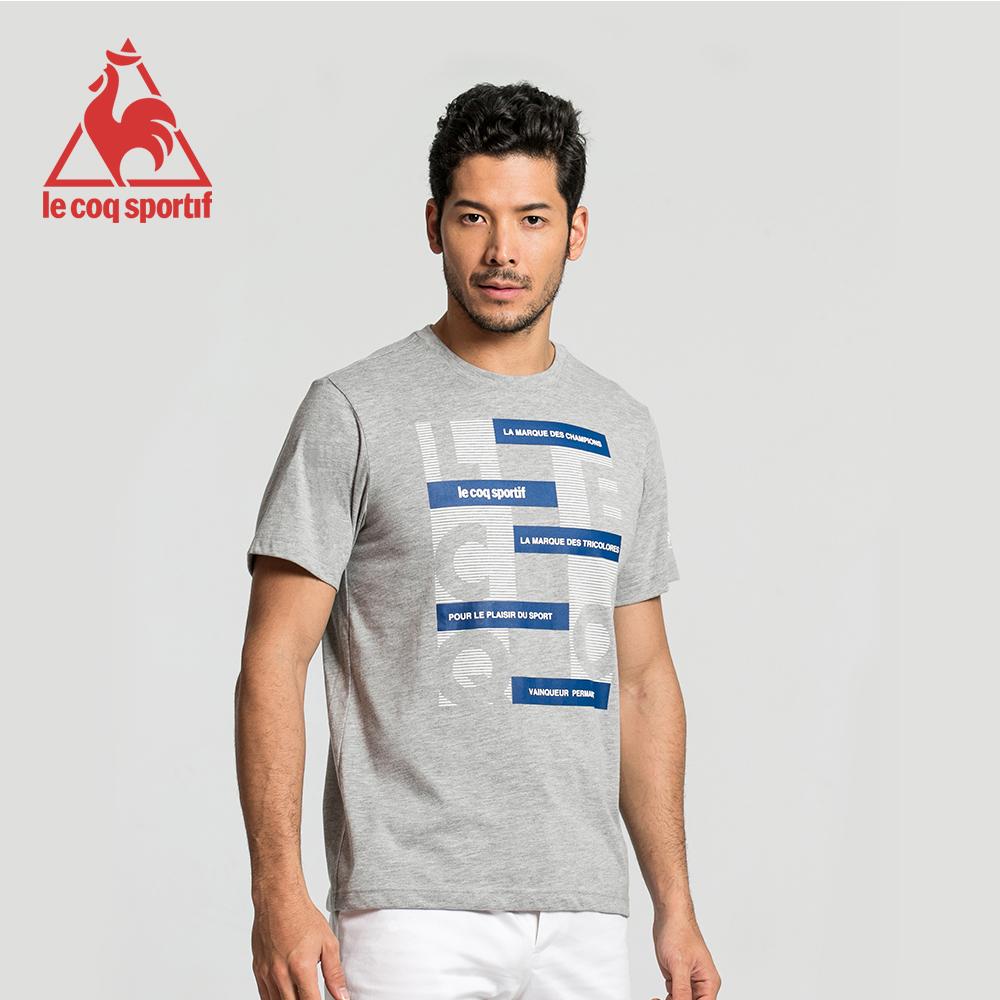 le coq sportif 法國公雞牌印花運動訓練短袖T恤 男-灰