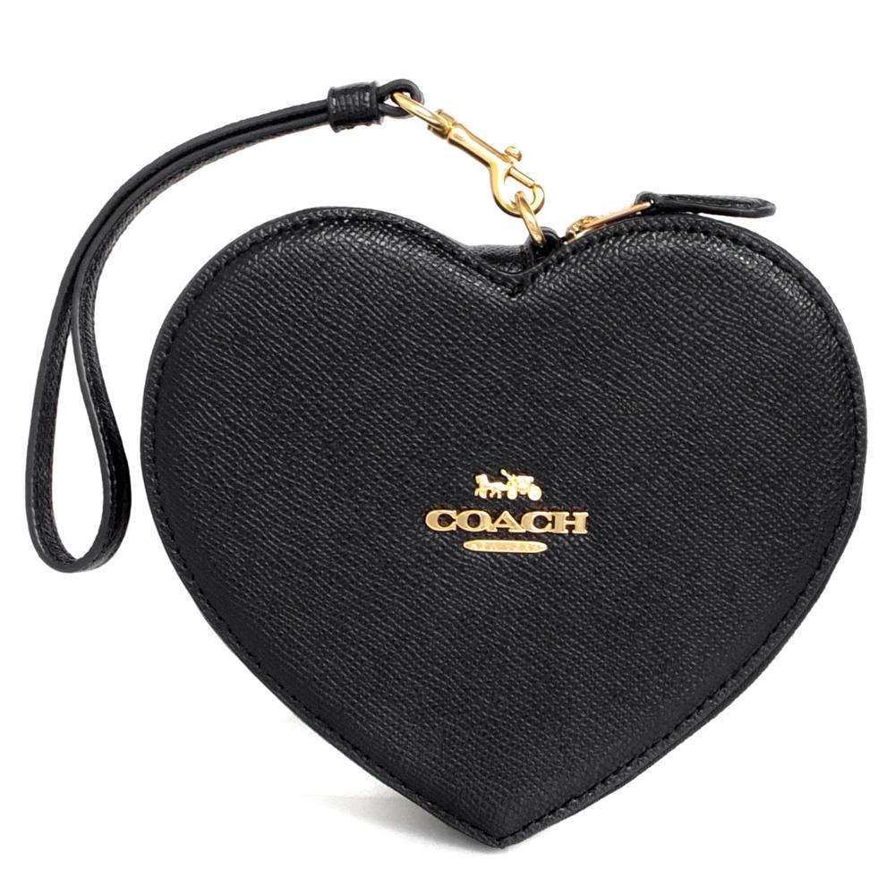 COACH黑色防刮全皮大愛心萬用手拿包