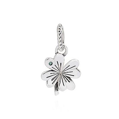 Pandora 潘朵拉 綠水晶幸運草 垂墜純銀墜飾