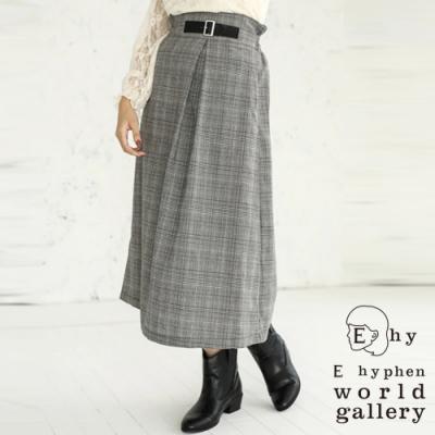 E hyphen 腰帶裝飾設計格倫格紋中長裙