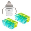 英國 Brother Max 副食品分裝盒,小號X2+防漏喝水訓練杯,裸灰