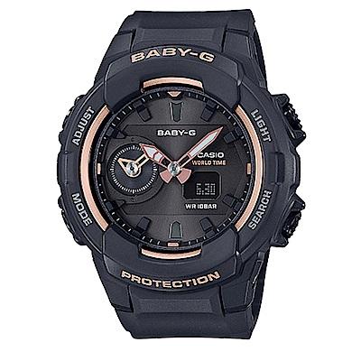 BABY-G簡約時尚玫瑰金色系愛冒險旅行女孩休閒錶(BGA-230SA-1)黑42.9mm