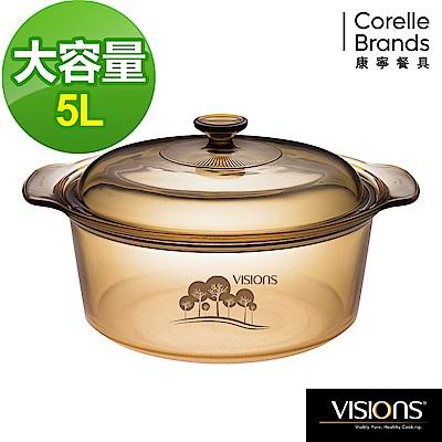 (下單5折)(送4入餐盤組)美國康寧 Visions晶彩透明鍋雙耳-5L(樹影)