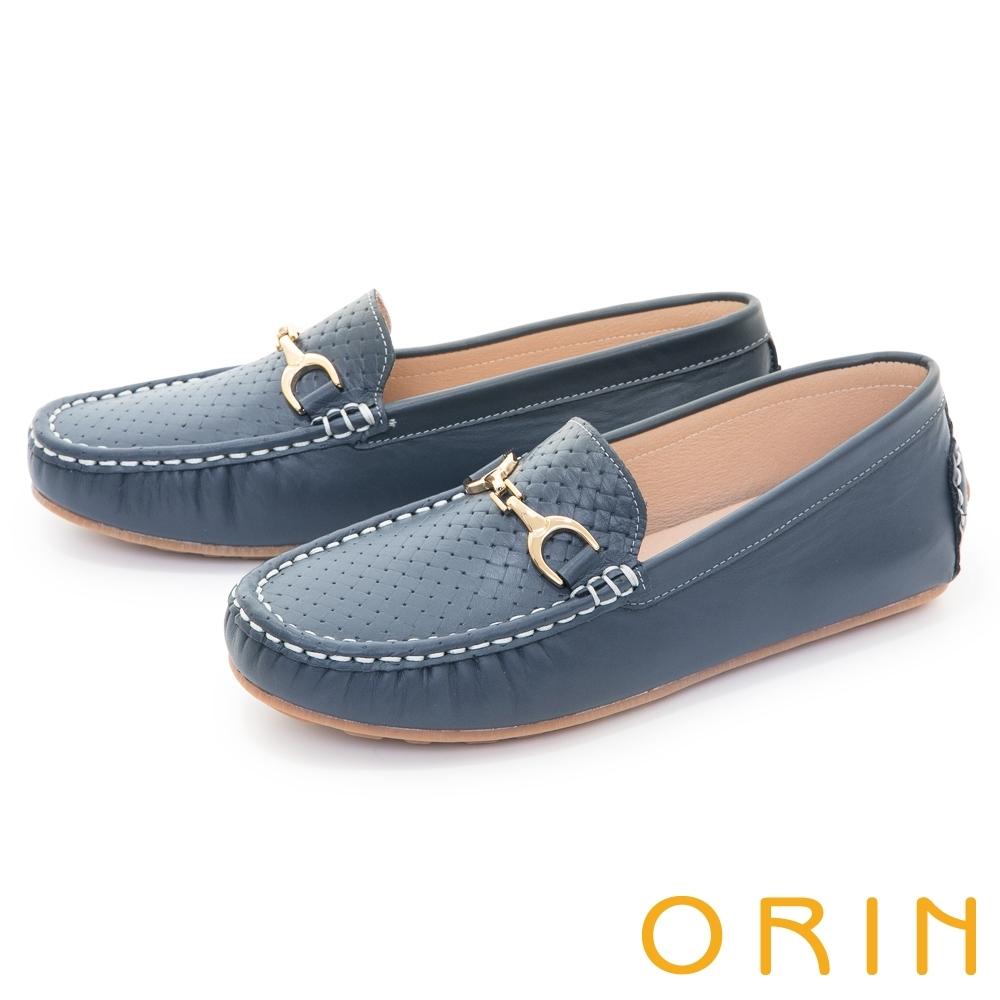 ORIN 復古真皮金屬馬銜釦 女 平底鞋 藍色