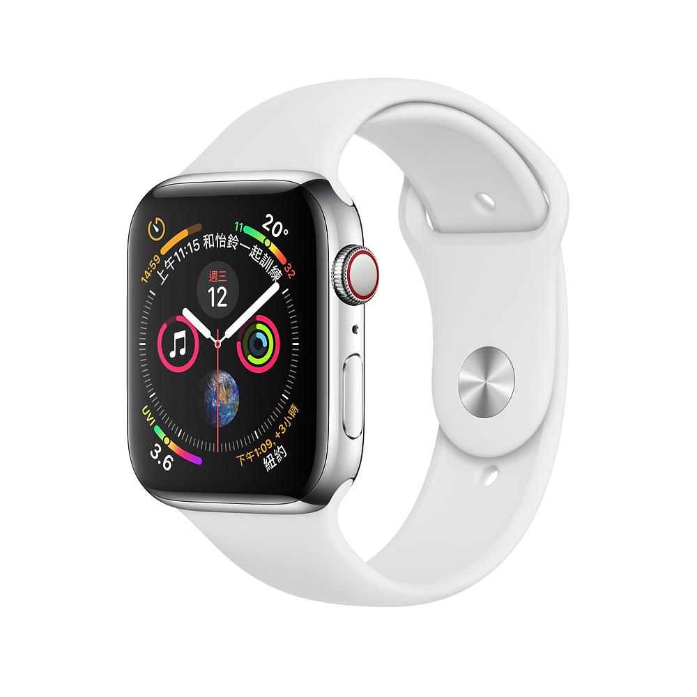 Apple Watch S4 LTE 40mm 不鏽鋼錶殼搭配白色運動型錶帶