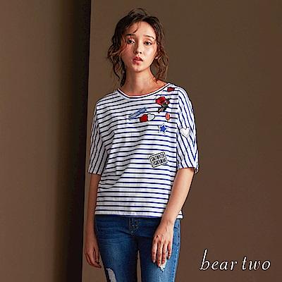 beartwo 寬鬆條紋俏皮圖案五分袖上衣(藍色)