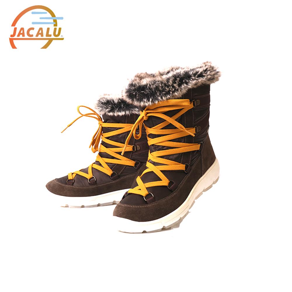 Jacalu 中筒布面織帶雪靴2820.20/J 咖啡色