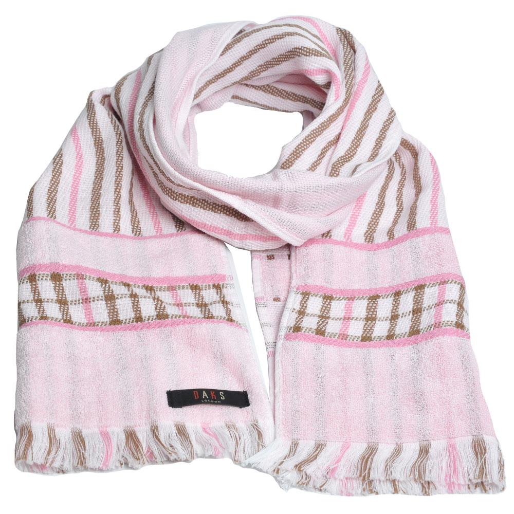 DAKS 經典格紋棉質長圍巾(粉紅格)