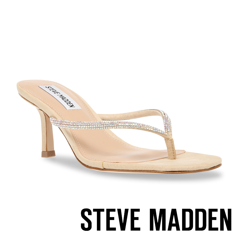 STEVE MADDEN-MIDWAY 水鑽夾角高跟涼拖鞋-米杏色