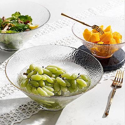 Homely Zakka 日式簡約手工錘目紋玻璃沙拉碗/甜品碗(大)