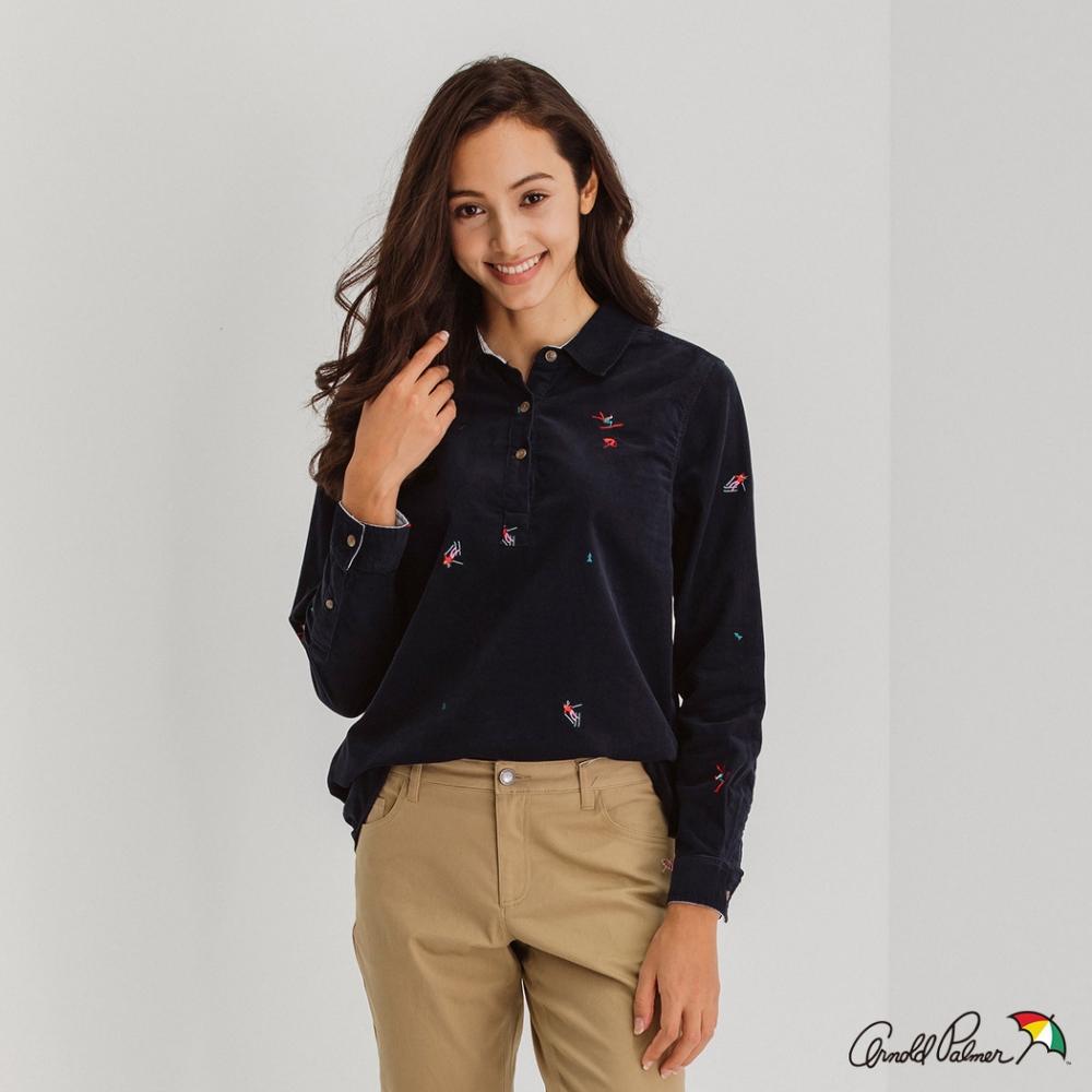 Arnold Palmer -女裝-燈芯絨滿版繡花半開襟襯衫-深藍色
