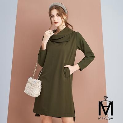 MYVEGA麥雪爾 MA翻領造型短洋裝-深墨綠