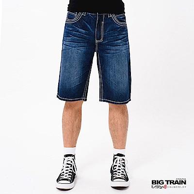 BIG TRAIN 粗針配線水洗短褲-男-深藍