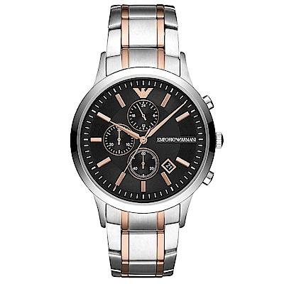 Emporio Armani 自信風範三眼計時手錶(AR11165)-黑X半金/43mm