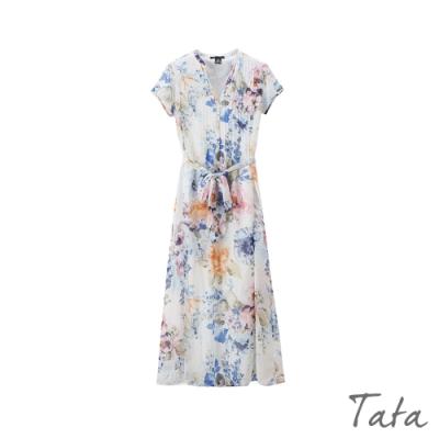 白色印花洋裝 TATA-(S~L)