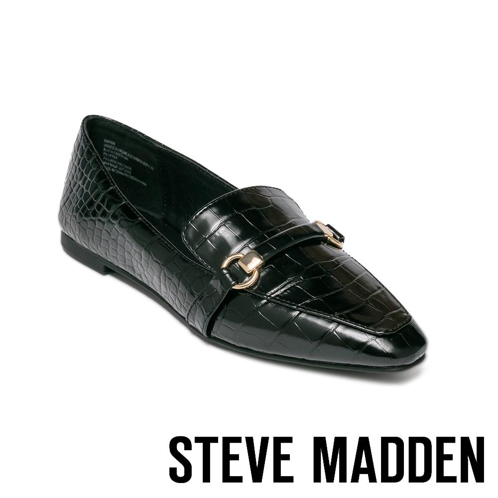 STEVE MADDEN-KANDI 馬銜扣皮紋平底女鞋-黑色