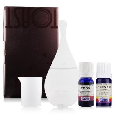 LERBOLARIO蕾莉歐 TOAST香氛精靈水氧機-白色寶瓶型+精油X2檸檬+迷迭香