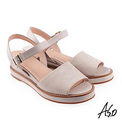 A.S.O 希臘渡假 全真皮質感楔型涼拖鞋米色