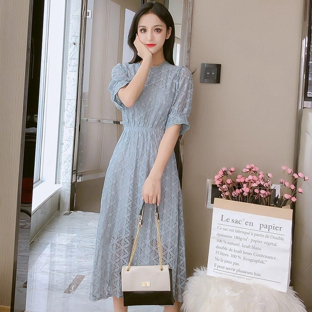 鏤空雕花純色蕾絲修身顯瘦優雅洋裝S-XL(共兩色)-Dorri