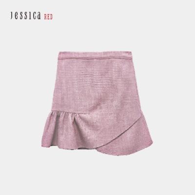 JESSICA RED - 粉色花呢修身荷葉邊短裙
