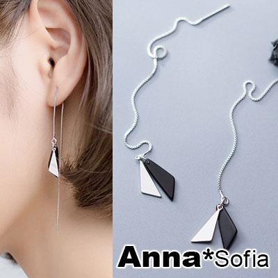 AnnaSofia 黑銀雙三角長耳線 925銀針耳針耳環(銀系)