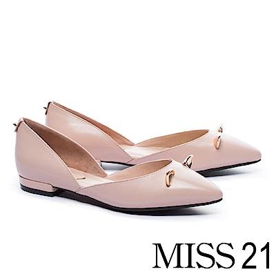 低跟鞋 MISS 21 復古俏皮立體小貓耳羊皮尖頭低跟鞋-粉
