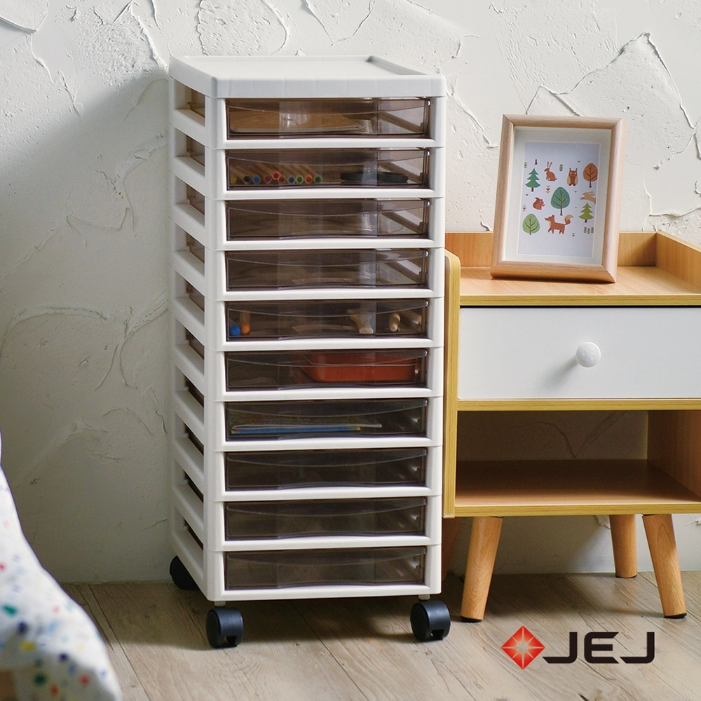 日本JEJ 辦公移動式A4文件收納櫃-10小抽