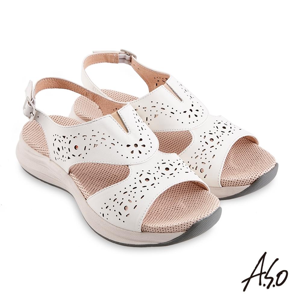 A.S.O 機能休閒 輕穩健康鞋牛皮沖孔休閒涼鞋-白