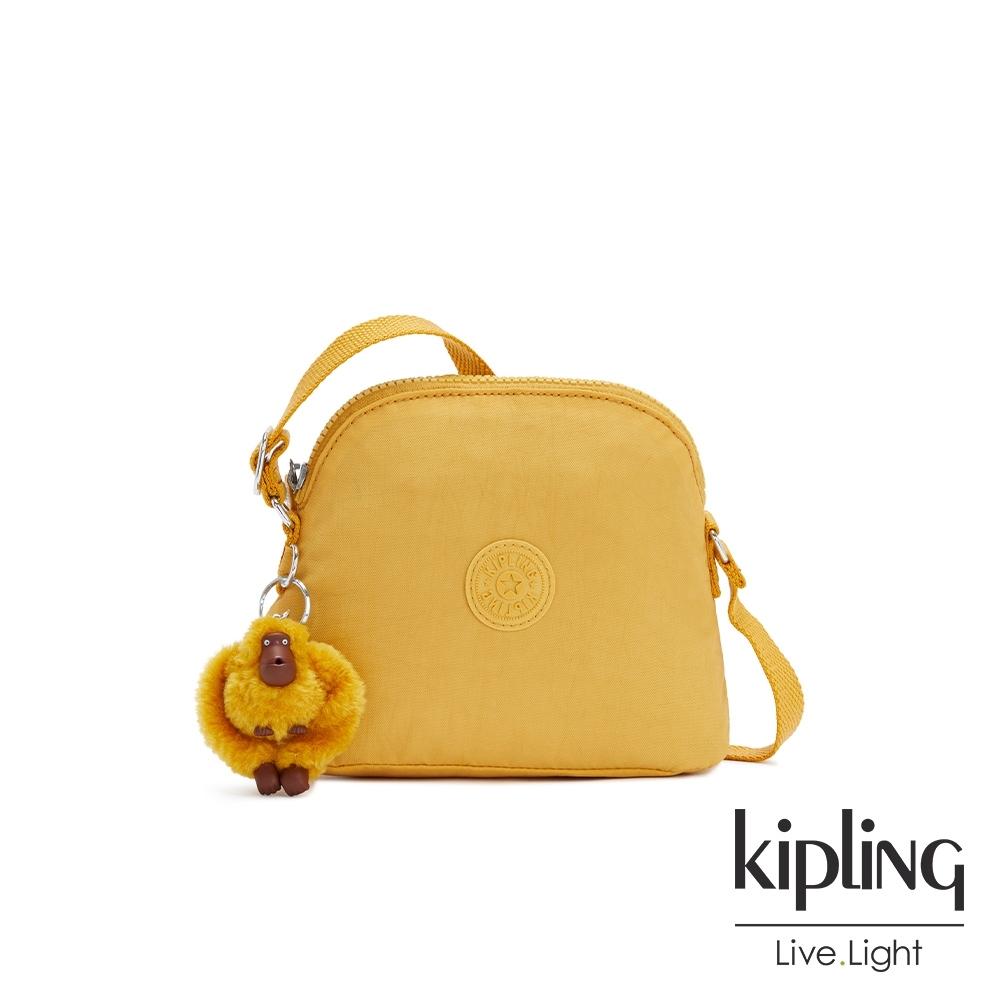 Kipling 鮮豔太陽黃簡單造型貝殼肩背包-DORY