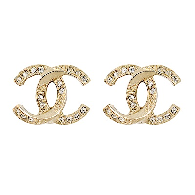 CHANEL香奈兒 經典雙C 交叉LOGO 鑲嵌圓形水鑽金色耳環