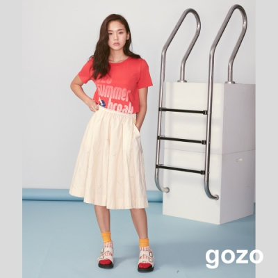gozo 荷葉邊配色點線繡花及膝裙(二色)