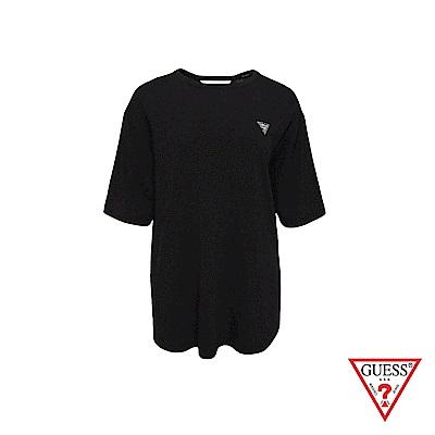 GUESS-女裝-素面小LOGO後扭結短T,T恤-黑 原價1990