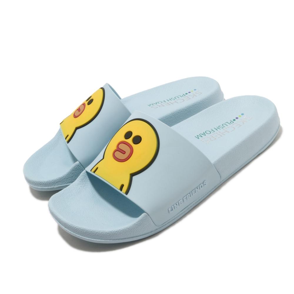 Skechers 涼拖鞋 2ND TAKE 套腳 聯名 舒適 女鞋 莎莉 LINE FRIENDS 限定款 藍 黃 31644AQUA