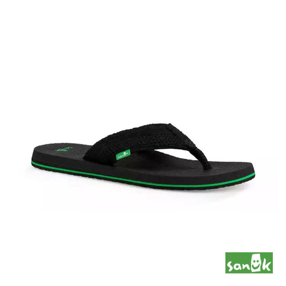 SANUK 網格瑜珈墊人字拖鞋-男款(黑色)1020000 BCRC