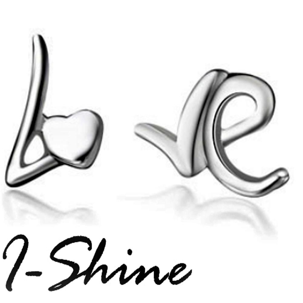 I-Shine-LOVE字母-愛心英文字母造型耳環AH04