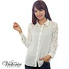 Victoria 真兩件式蕾絲雪紡長袖襯衫-女-白