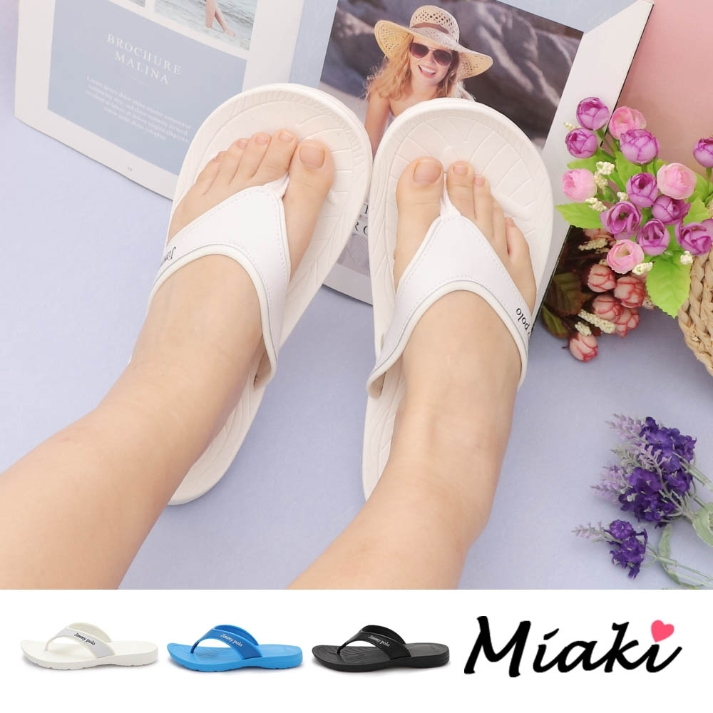 Miaki-拖鞋.夏日休閒平底夾腳拖鞋 (白色系)