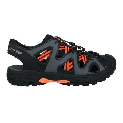 LOTTO 男排水護趾涼鞋-休閒 健走鞋 水陸鞋 反光 海邊 戲水 LT1AMS3158 黑灰橘
