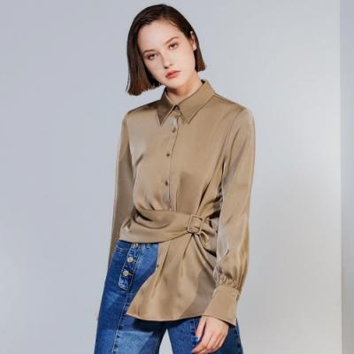 SO NICE時尚光澤造型腰帶綁結襯衫