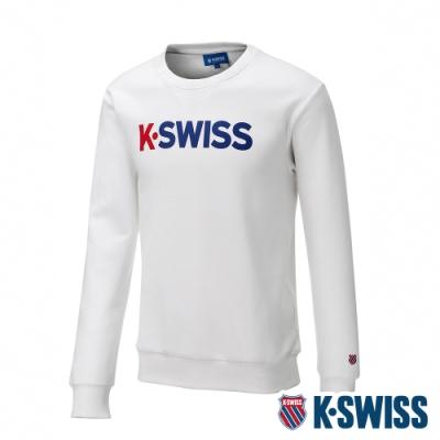 K-SWISS 2 Tone KS Logo刷毛圓領上衣-男-白