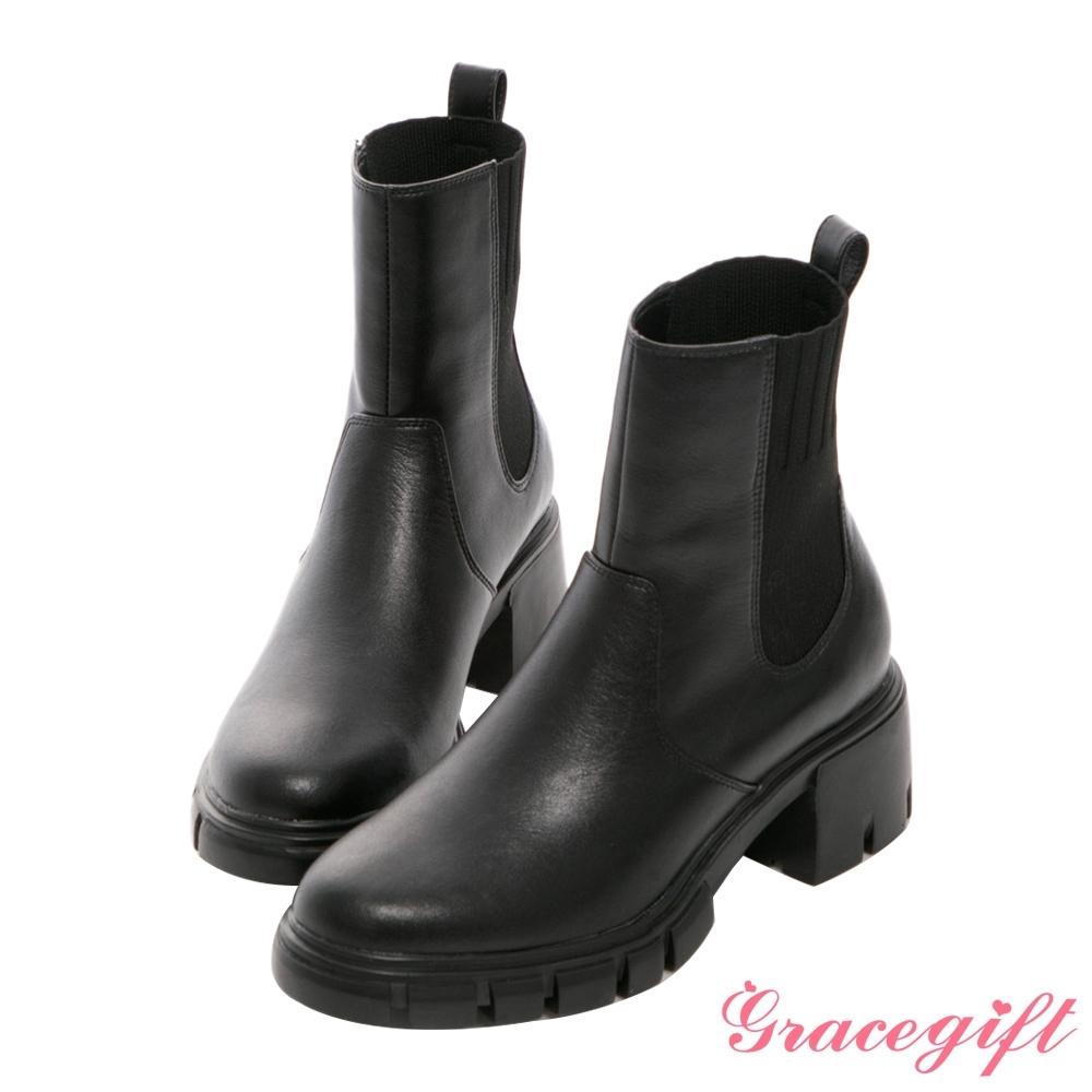 Grace gift X Kerina-聯名厚底切爾西中筒靴 黑