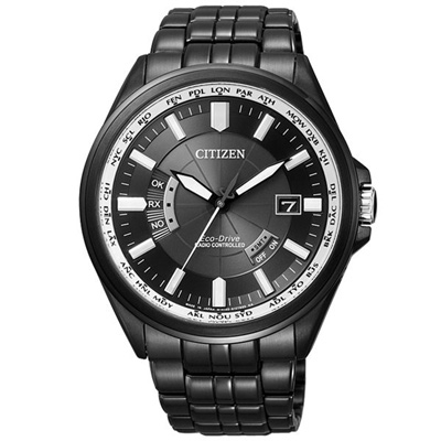 CITIZEN 超越極限光動能電波錶-鋼帶-全黑