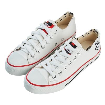 迪士尼親子鞋 米奇 經典大人休閒帆布鞋-白