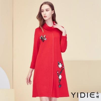 【YIDIE衣蝶】中國風粉林鳥刺繡短洋裝-紅